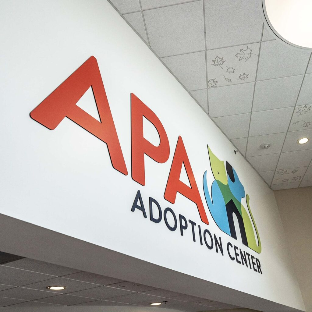 APA Adoption Center entryway logo